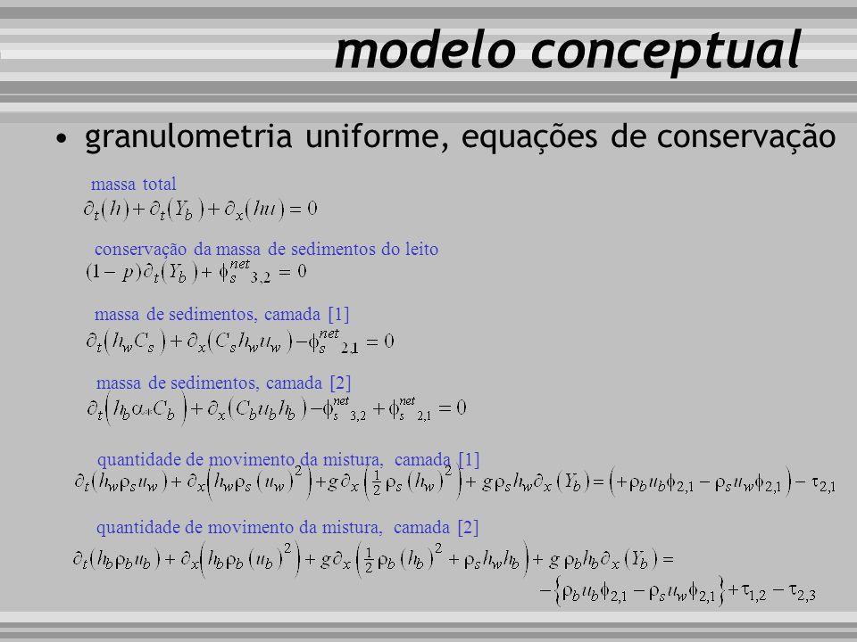 modelo conceptual granulometria uniforme, equações de conservação massa total conservação da massa de sedimentos do leito massa de sedimentos, camada