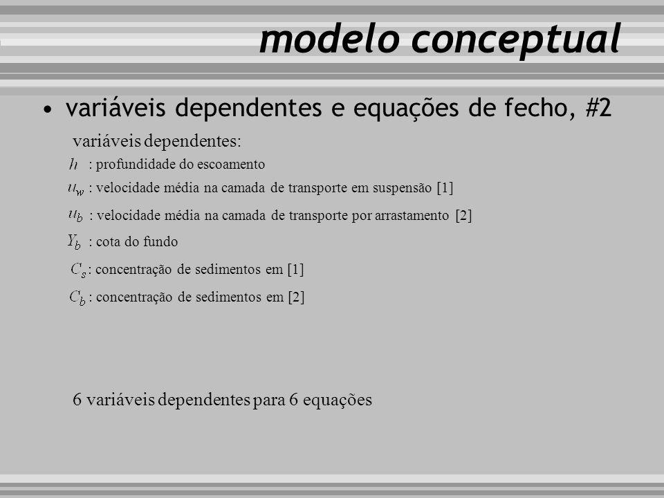 modelo conceptual variáveis dependentes e equações de fecho, #2 variáveis dependentes: : profundidade do escoamento : velocidade média na camada de tr