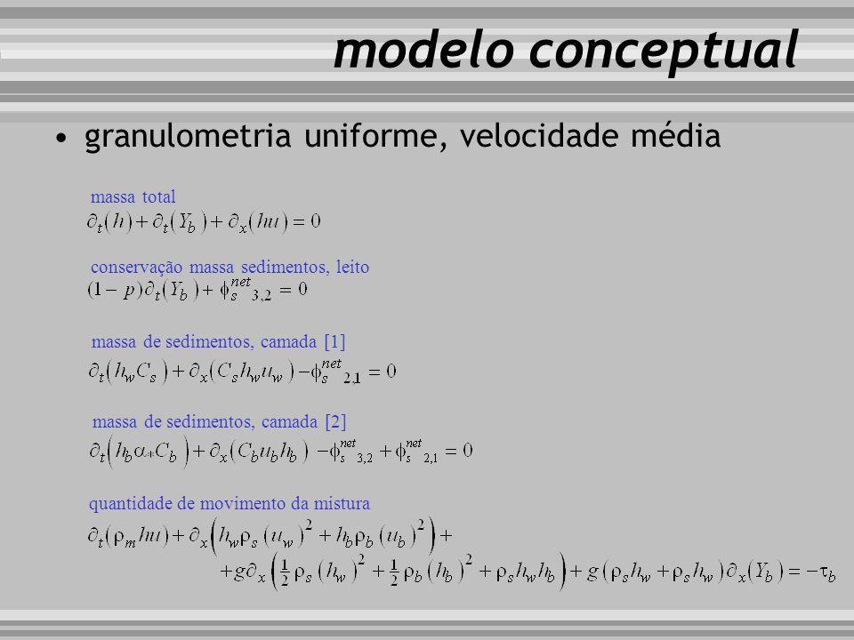 modelo conceptual granulometria uniforme, velocidade média massa total conservação massa sedimentos, leito massa de sedimentos, camada [1] massa de se