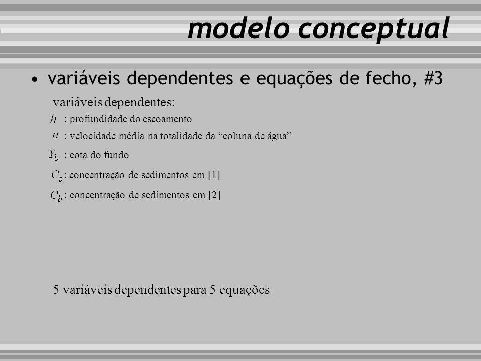 modelo conceptual variáveis dependentes e equações de fecho, #3 variáveis dependentes: : profundidade do escoamento : velocidade média na totalidade d