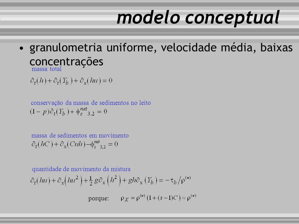 modelo conceptual granulometria uniforme, velocidade média, baixas concentrações massa total conservação da massa de sedimentos no leito massa de sedi