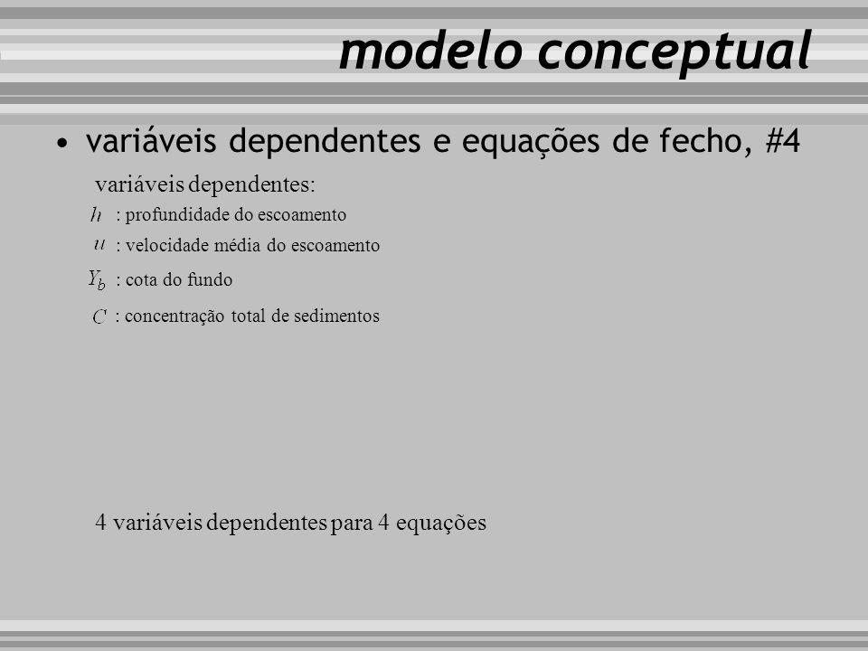 modelo conceptual variáveis dependentes e equações de fecho, #4 variáveis dependentes: : profundidade do escoamento : velocidade média do escoamento :