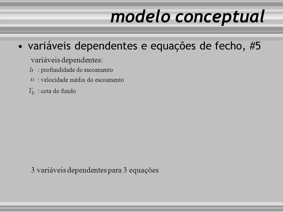 modelo conceptual variáveis dependentes e equações de fecho, #5 variáveis dependentes: : profundidade do escoamento : velocidade média do escoamento :