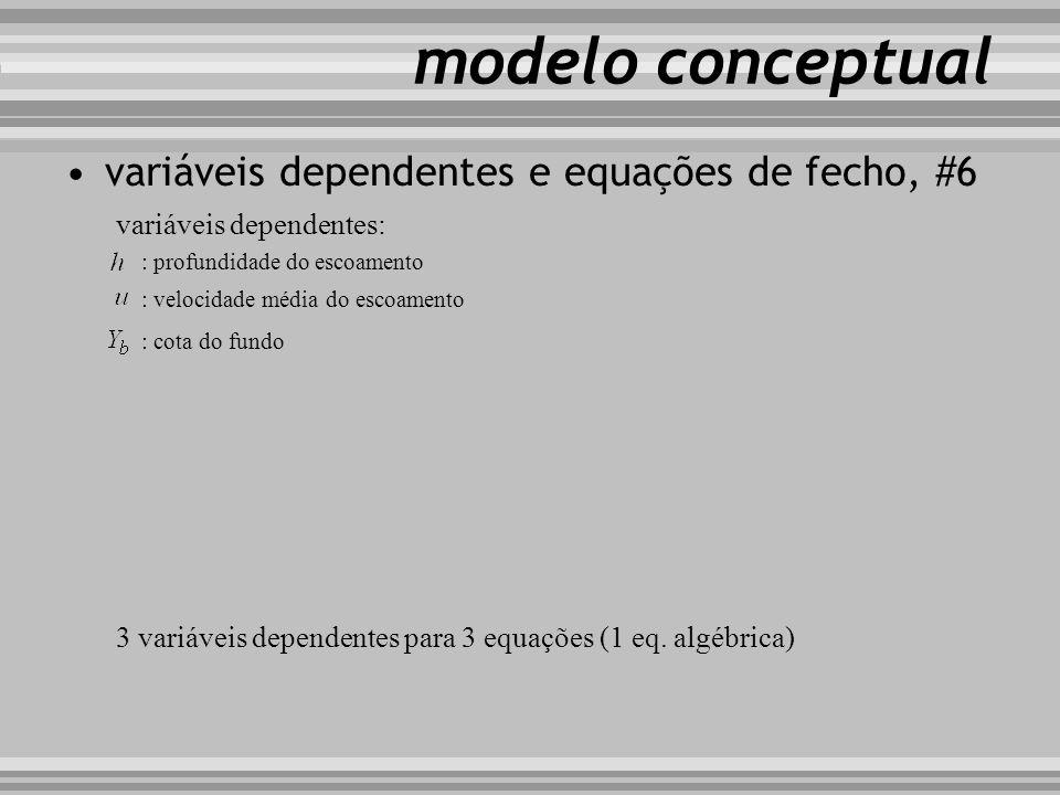 modelo conceptual variáveis dependentes e equações de fecho, #6 variáveis dependentes: : profundidade do escoamento : velocidade média do escoamento :