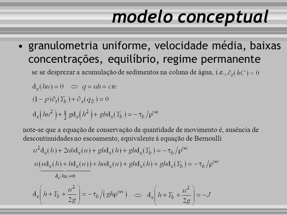 modelo conceptual se se desprezar a acumulação de sedimentos na coluna de água, i.e., granulometria uniforme, velocidade média, baixas concentrações,