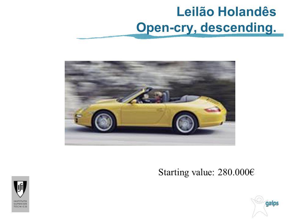Leilão Holandês Open-cry, descending. Starting value: 280.000