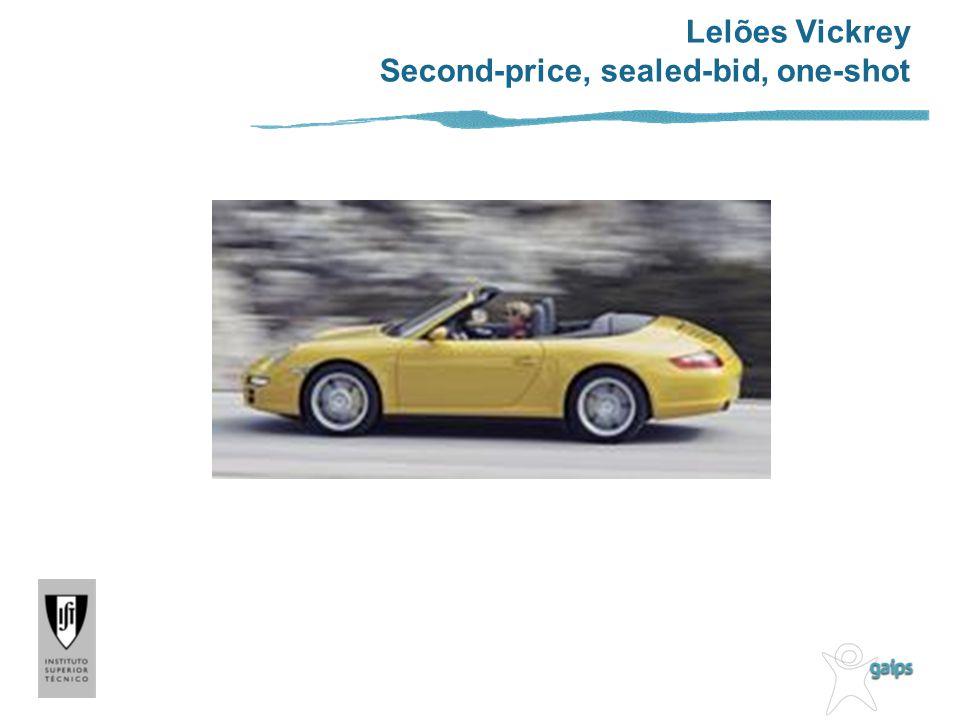 Lelões Vickrey Second-price, sealed-bid, one-shot