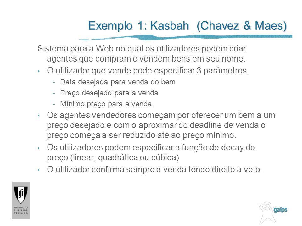 Exemplo 1: Kasbah (Chavez & Maes) Sistema para a Web no qual os utilizadores podem criar agentes que compram e vendem bens em seu nome. O utilizador q
