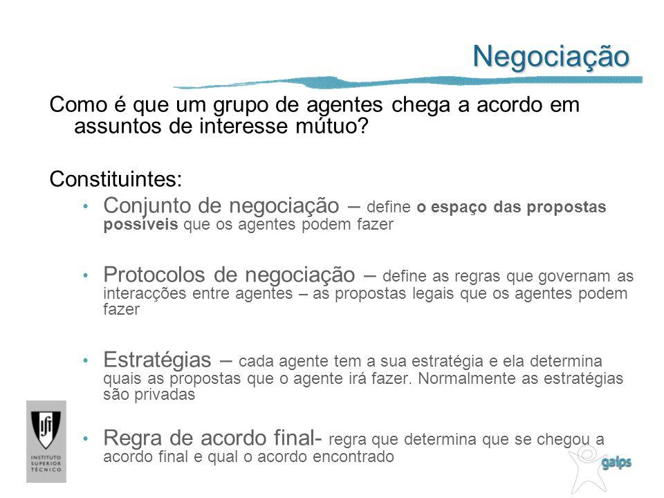 Negociação Como é que um grupo de agentes chega a acordo em assuntos de interesse mútuo? Constituintes: Conjunto de negociação – define o espaço das p