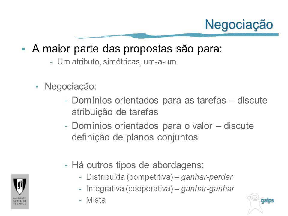 Negociação A maior parte das propostas são para: -Um atributo, simétricas, um-a-um Negociação: -Domínios orientados para as tarefas – discute atribuiç