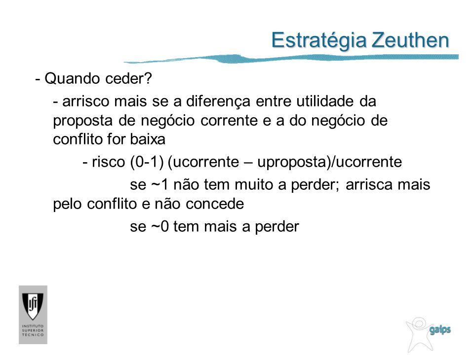 Estratégia Zeuthen - Quando ceder? - arrisco mais se a diferença entre utilidade da proposta de negócio corrente e a do negócio de conflito for baixa