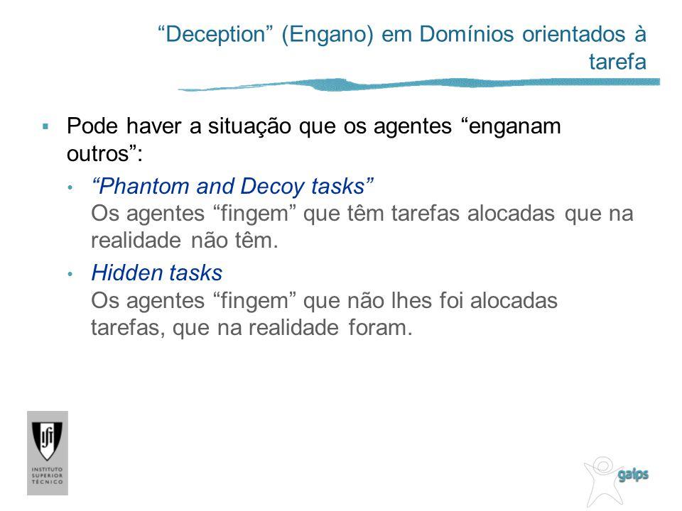 Deception (Engano) em Domínios orientados à tarefa Pode haver a situação que os agentes enganam outros: Phantom and Decoy tasks Os agentes fingem que