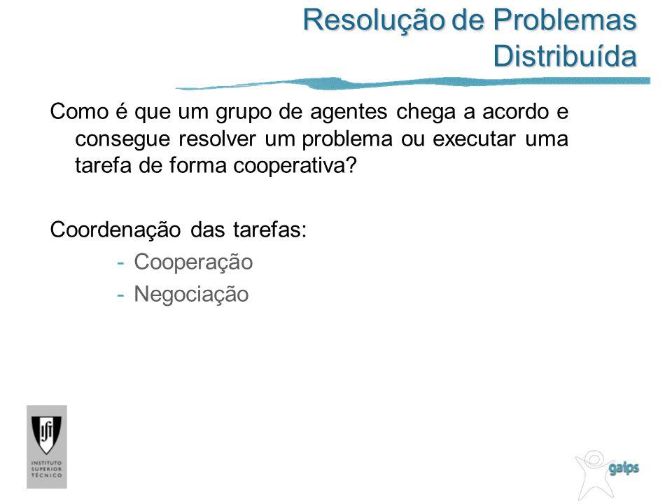 Resolução de Problemas Distribuída Como é que um grupo de agentes chega a acordo e consegue resolver um problema ou executar uma tarefa de forma coope