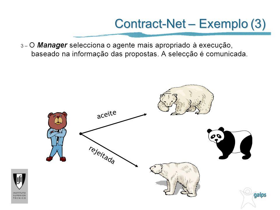 Contract-Net – Exemplo (3) 3 – O Manager selecciona o agente mais apropriado à execução, baseado na informação das propostas. A selecção é comunicada.