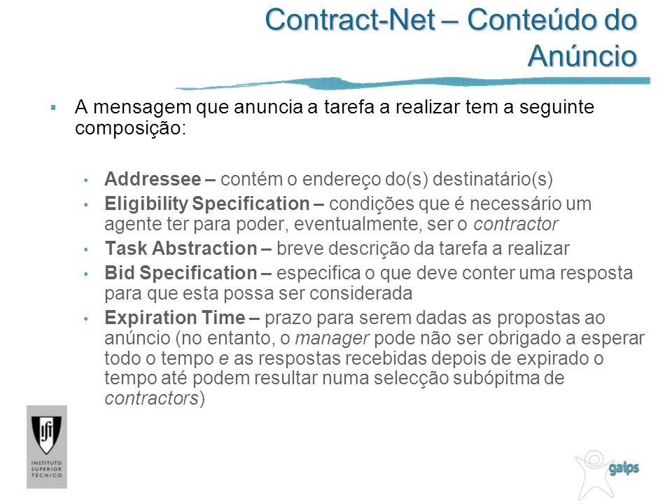 Contract-Net – Conteúdo do Anúncio A mensagem que anuncia a tarefa a realizar tem a seguinte composição: Addressee – contém o endereço do(s) destinatá
