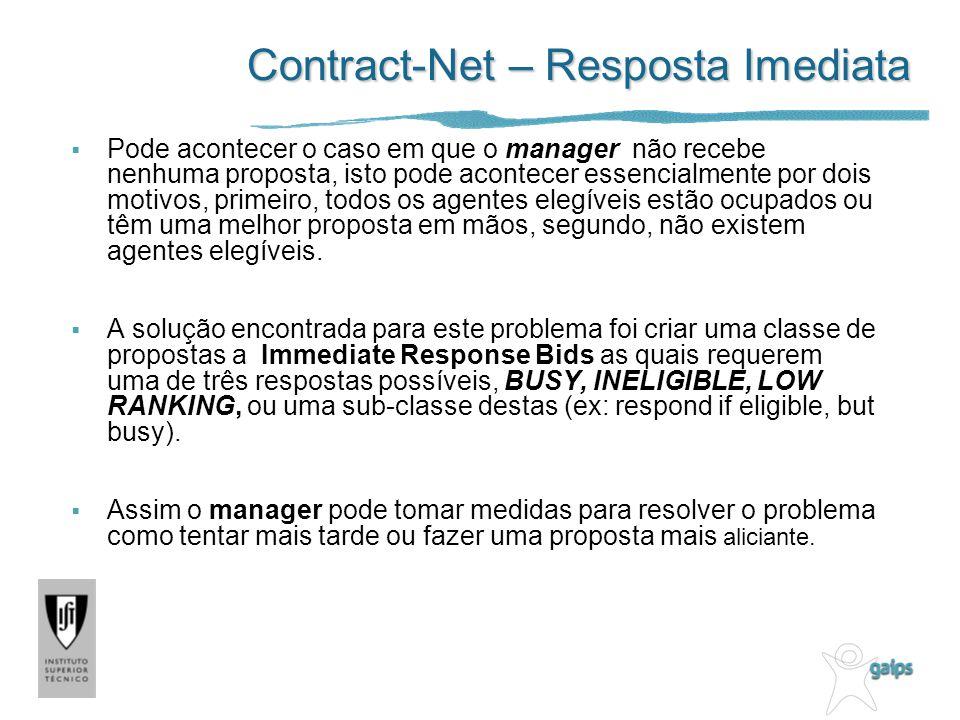 Contract-Net – Resposta Imediata Pode acontecer o caso em que o manager não recebe nenhuma proposta, isto pode acontecer essencialmente por dois motiv
