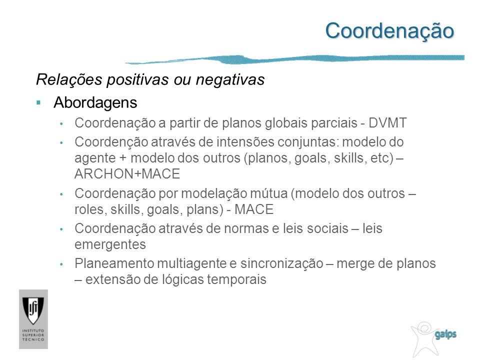 Coordenação Relações positivas ou negativas Abordagens Coordenação a partir de planos globais parciais - DVMT Coordenção através de intensões conjunta