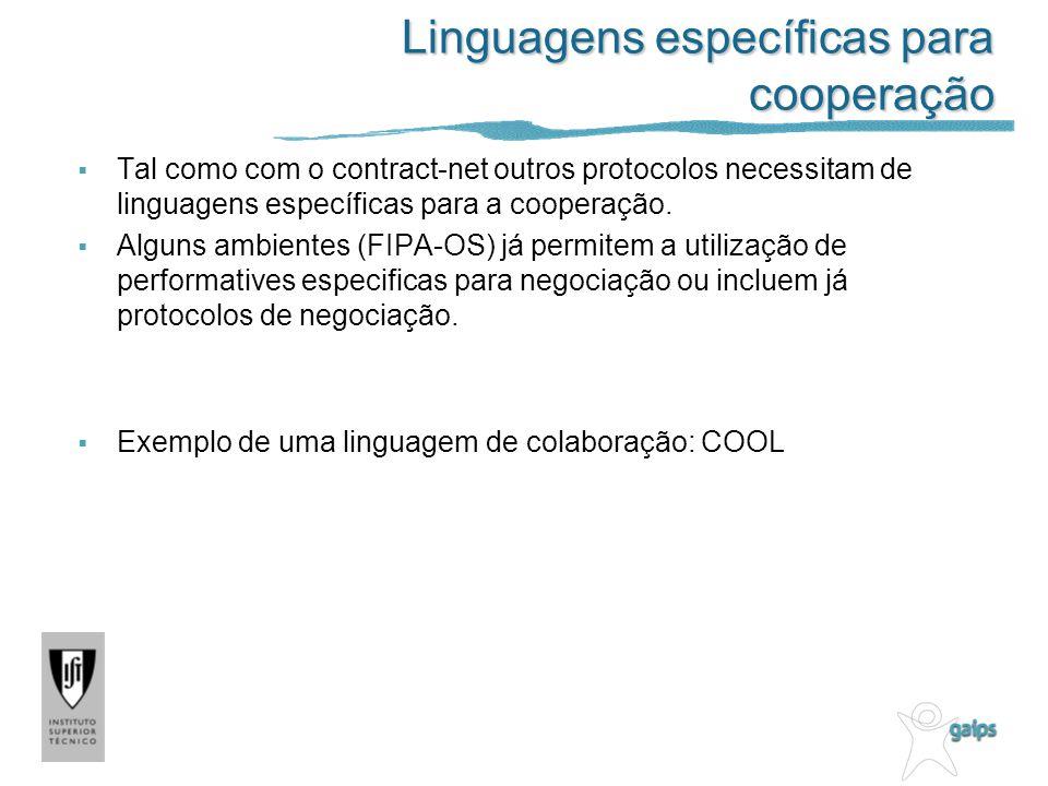 Linguagens específicas para cooperação Tal como com o contract-net outros protocolos necessitam de linguagens específicas para a cooperação. Alguns am