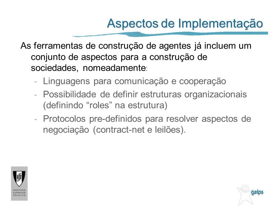 Aspectos de Implementação As ferramentas de construção de agentes já incluem um conjunto de aspectos para a construção de sociedades, nomeadamente : -