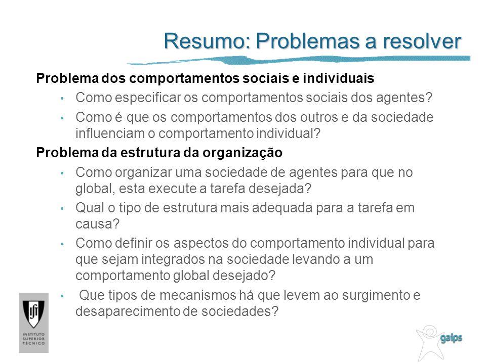 Resumo: Problemas a resolver Problema dos comportamentos sociais e individuais Como especificar os comportamentos sociais dos agentes? Como é que os c