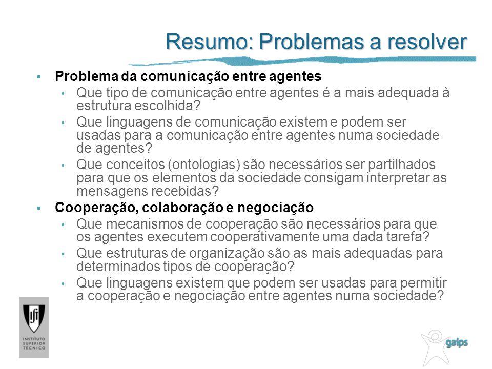 Resumo: Problemas a resolver Problema da comunicação entre agentes Que tipo de comunicação entre agentes é a mais adequada à estrutura escolhida? Que