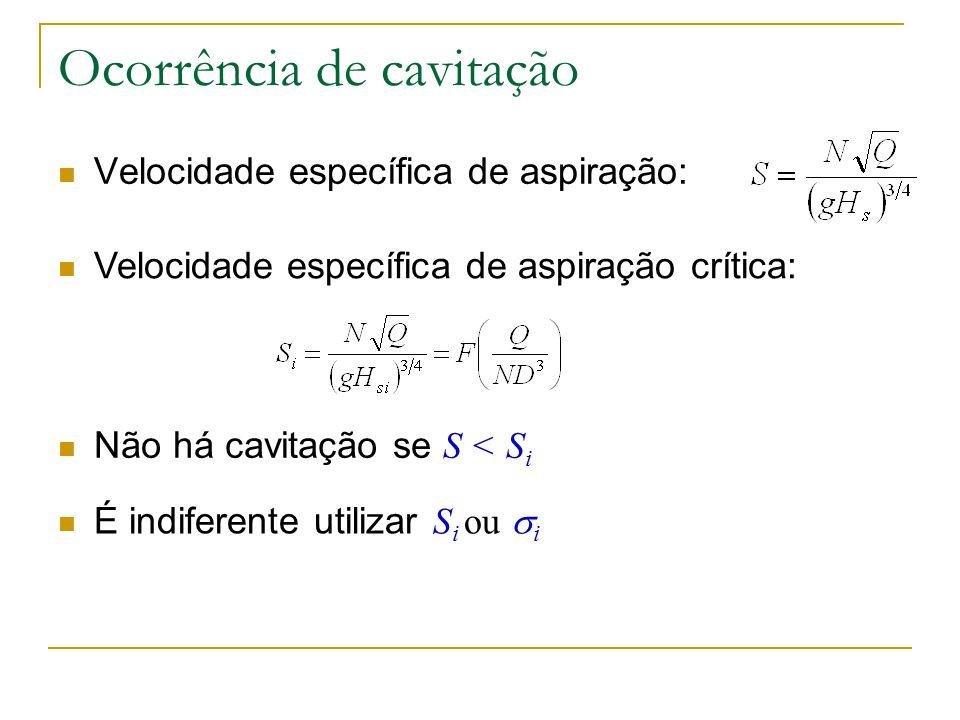 Ocorrência de cavitação Velocidade específica de aspiração: Velocidade específica de aspiração crítica: Não há cavitação se S < S i É indiferente util