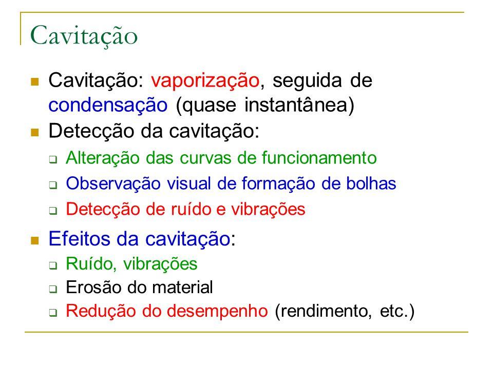 Cavitação Cavitação: vaporização, seguida de condensação (quase instantânea) Detecção da cavitação: Alteração das curvas de funcionamento Observação v