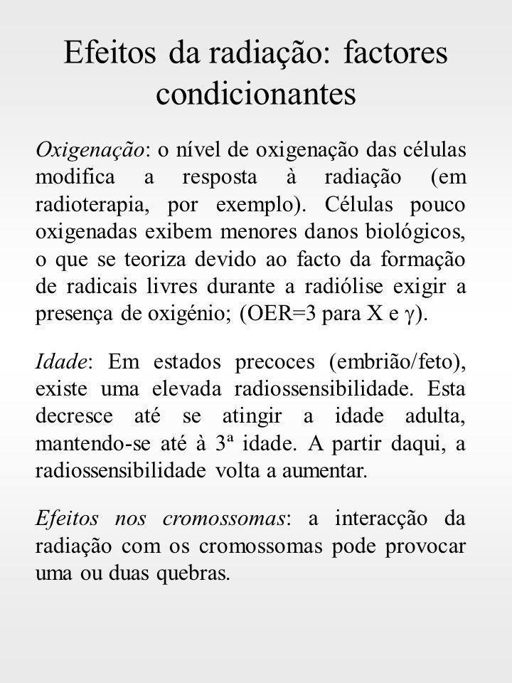 Efeitos da radiação: factores condicionantes Oxigenação: o nível de oxigenação das células modifica a resposta à radiação (em radioterapia, por exempl