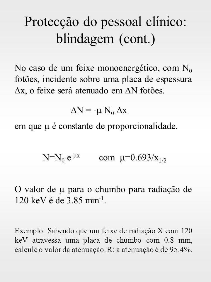 Protecção do pessoal clínico: blindagem (cont.) No caso de um feixe monoenergético, com N 0 fotões, incidente sobre uma placa de espessura x, o feixe