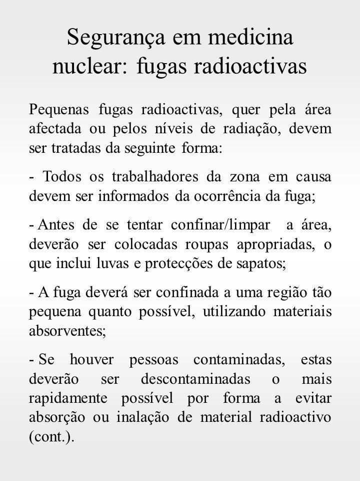 Segurança em medicina nuclear: fugas radioactivas Pequenas fugas radioactivas, quer pela área afectada ou pelos níveis de radiação, devem ser tratadas
