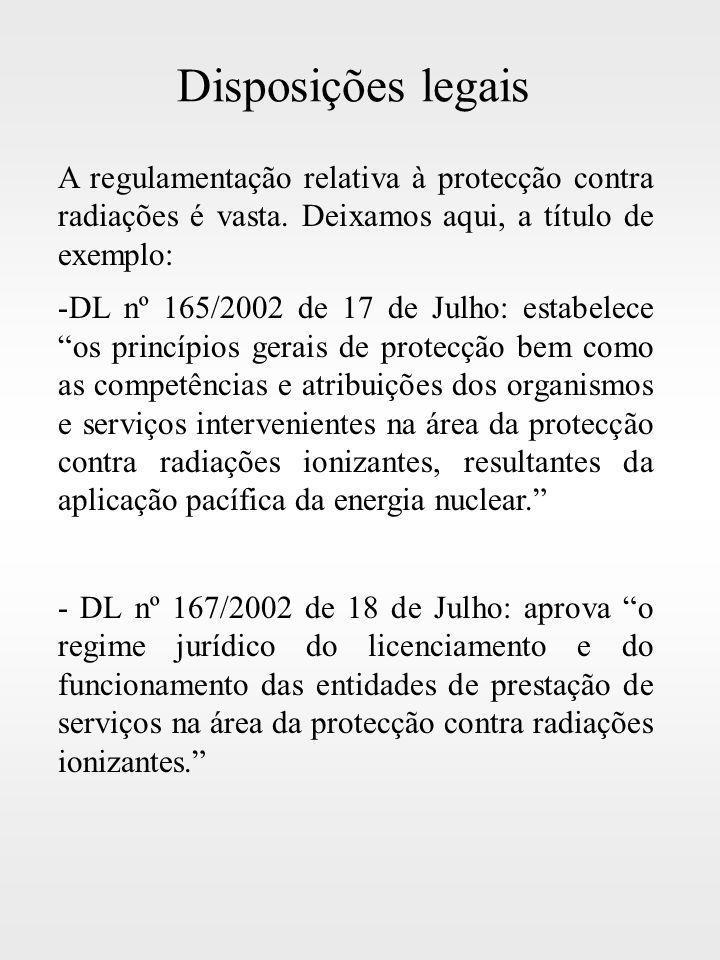Disposições legais A regulamentação relativa à protecção contra radiações é vasta. Deixamos aqui, a título de exemplo: -DL nº 165/2002 de 17 de Julho: