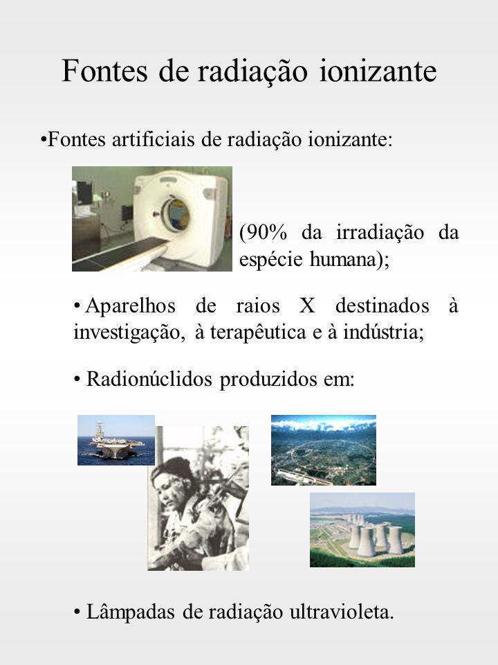 Fontes de radiação ionizante Fontes artificiais de radiação ionizante: (90% da irradiação da espécie humana); Aparelhos de raios X destinados à invest