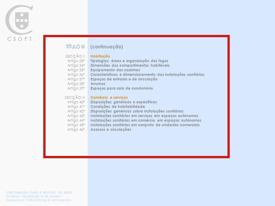 C S O P T (continuação) Habitação Tipologias, áreas e organização dos fogos Dimensões dos compartimentos habitáveis Equipamento das cozinhas Características e dimensionamento das instalações sanitárias Espaços de entrada e de circulação Arrumos Espaços para sala de condomínio Comércio e serviços Disposições genéricas e especificas Condições de habitabilidade Disposições genéricas sobre instalações sanitárias Instalações sanitárias em serviços em espaços autónomos Instalações sanitárias em comércio em espaços autónomos Instalações sanitárias em conjunto de unidades comerciais Acessos e circulações TÍTULO III SECÇÃO II Artigo 33º Artigo 34º Artigo 35º Artigo 36º Artigo 37º Artigo 38º Artigo 39º SECÇÃO III Artigo 40º Artigo 41º Artigo 42º Artigo 43º Artigo 44º Artigo 45º Artigo 46º SUBCOMISSÃO PARA A REVISÃO DO RGEU Portaria n.º 62/2003 de 16 de Janeiro Despacho n.º 5493/2003 de 27 de Fevereiro