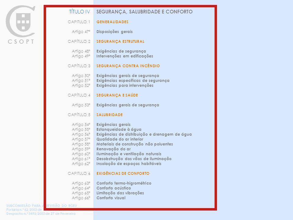 C S O P T SEGURANÇA, SALUBRIDADE E CONFORTO GENERALIDADES Disposições gerais SEGURANÇA ESTRUTURAL Exigências de segurança Intervenções em edificações