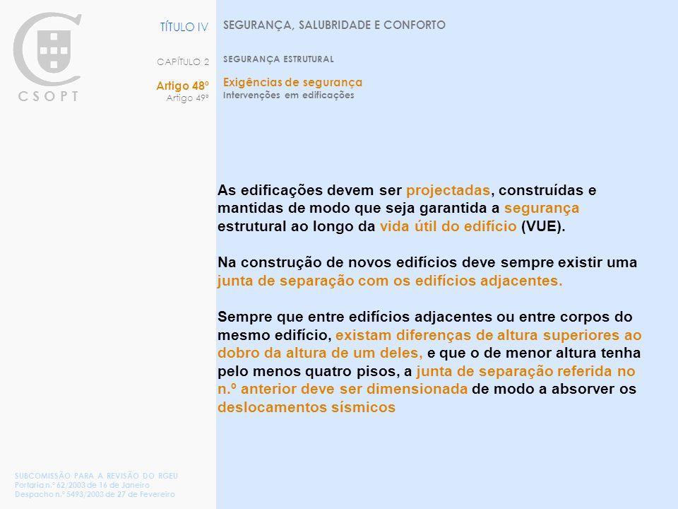 C S O P T SEGURANÇA, SALUBRIDADE E CONFORTO SEGURANÇA ESTRUTURAL Exigências de segurança Intervenções em edificações TÍTULO IV CAPÍTULO 2 Artigo 48º Artigo 49º SUBCOMISSÃO PARA A REVISÃO DO RGEU Portaria n.º 62/2003 de 16 de Janeiro Despacho n.º 5493/2003 de 27 de Fevereiro As edificações devem ser projectadas, construídas e mantidas de modo que seja garantida a segurança estrutural ao longo da vida útil do edifício (VUE).