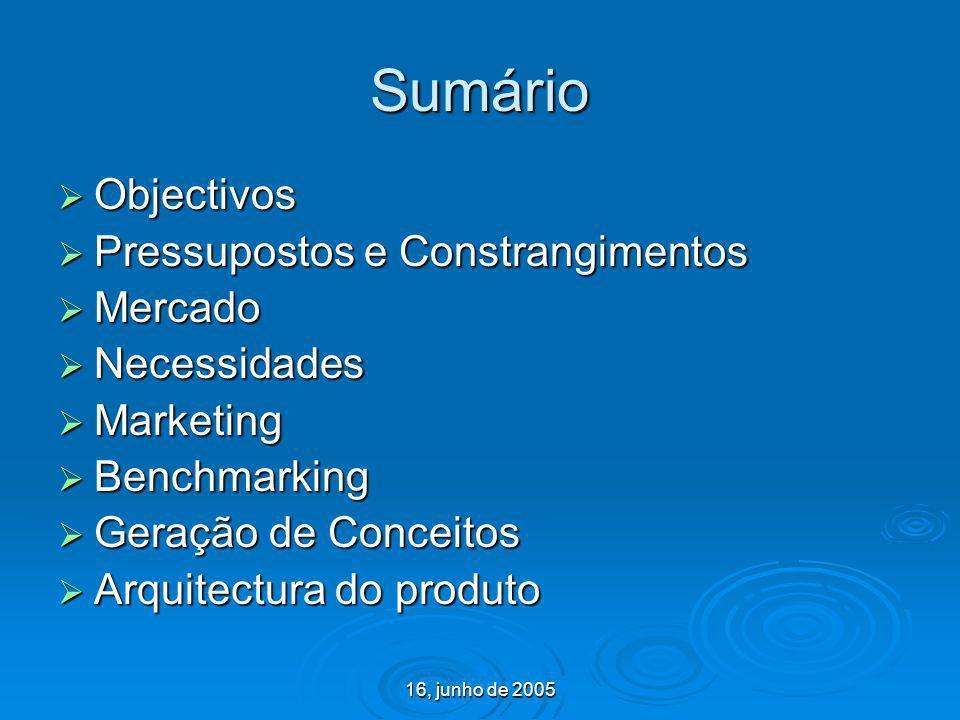 16, junho de 2005 Sumário Objectivos Objectivos Pressupostos e Constrangimentos Pressupostos e Constrangimentos Mercado Mercado Necessidades Necessida