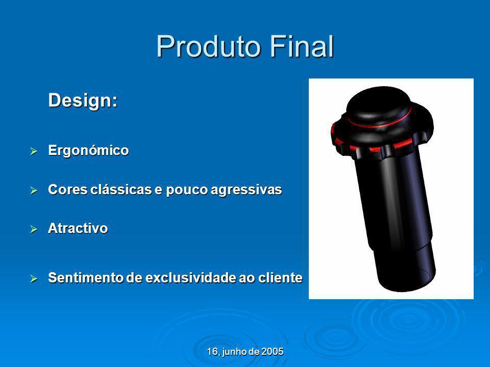 16, junho de 2005 Produto Final Design: Ergonómico Ergonómico Cores clássicas e pouco agressivas Cores clássicas e pouco agressivas Atractivo Atractiv