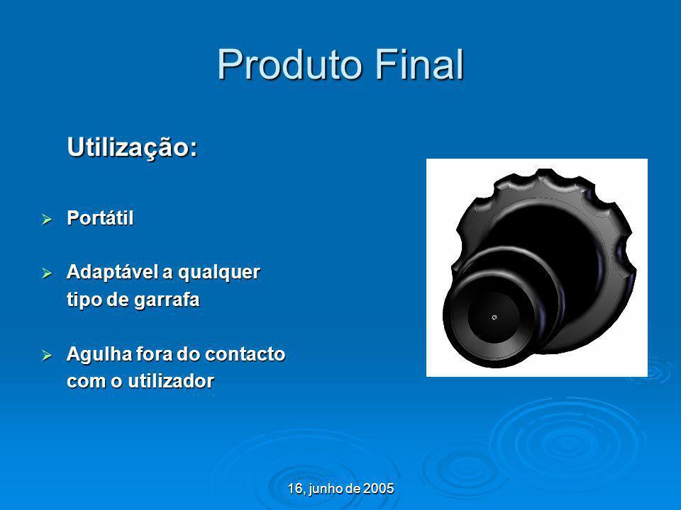 16, junho de 2005 Produto Final Utilização: Portátil Portátil Adaptável a qualquer Adaptável a qualquer tipo de garrafa Agulha fora do contacto Agulha