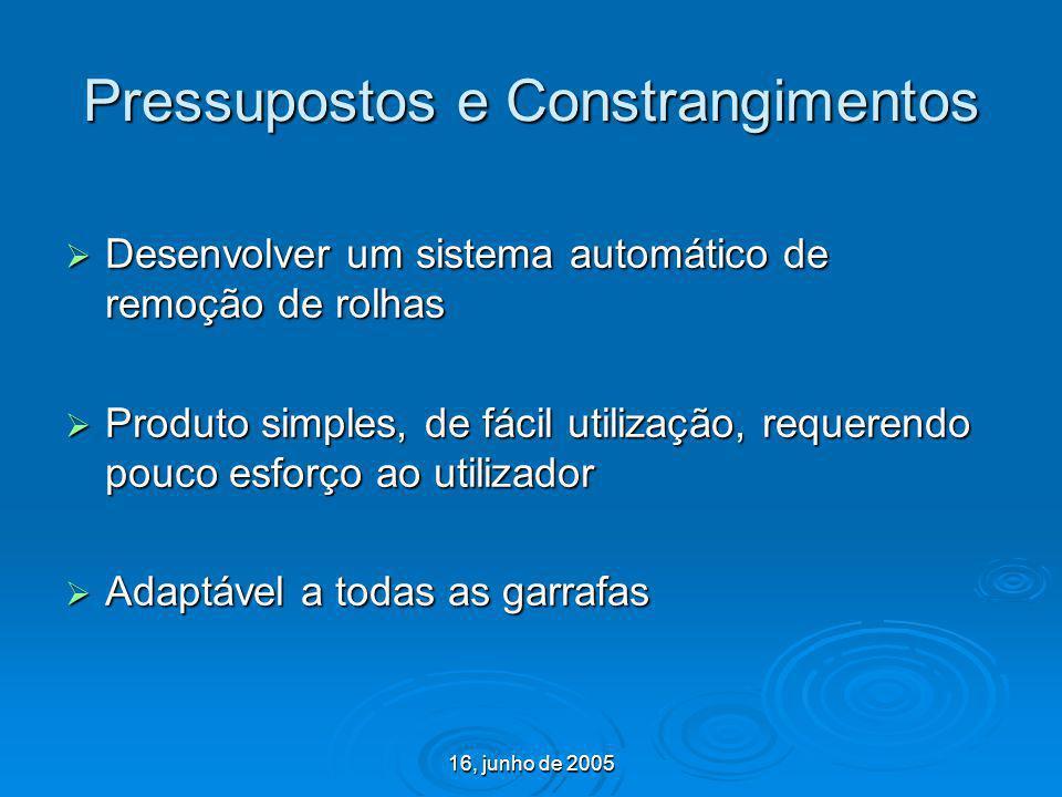 16, junho de 2005 Pressupostos e Constrangimentos Desenvolver um sistema automático de remoção de rolhas Desenvolver um sistema automático de remoção