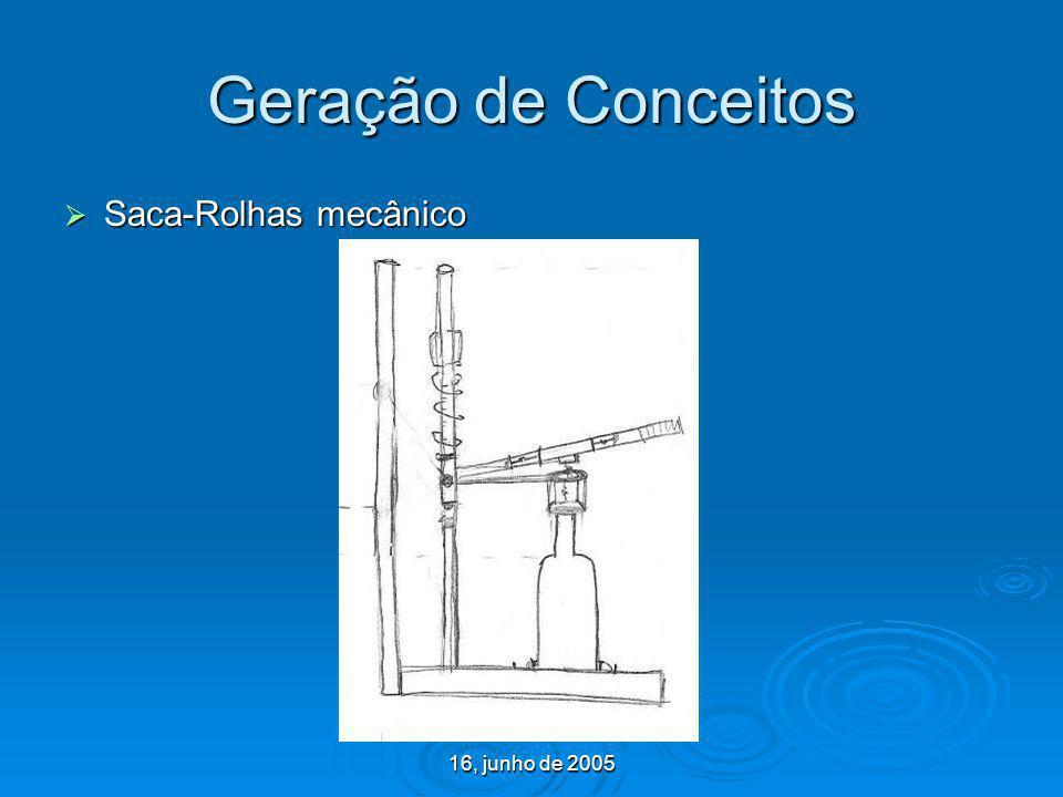 16, junho de 2005 Geração de Conceitos Saca-Rolhas mecânico Saca-Rolhas mecânico