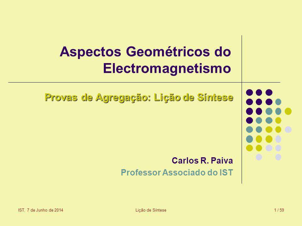 IST, 7 de Junho de 2014Lição de Síntese2 / 59 Sumário da lição de síntese Equações de Maxwell e de Maxwell-Boffi: meios electromagnéticos Álgebra geométrica do plano euclidiano Álgebra geométrica do espaço euclidiano tridimensional Primeira formulação geométrica do electromagnetismo Meios anisotrópicos Álgebra geométrica do espaço-tempo de Minkowski Segunda formulação geométrica do electromagnetismo Efeito Doppler Meios em movimento