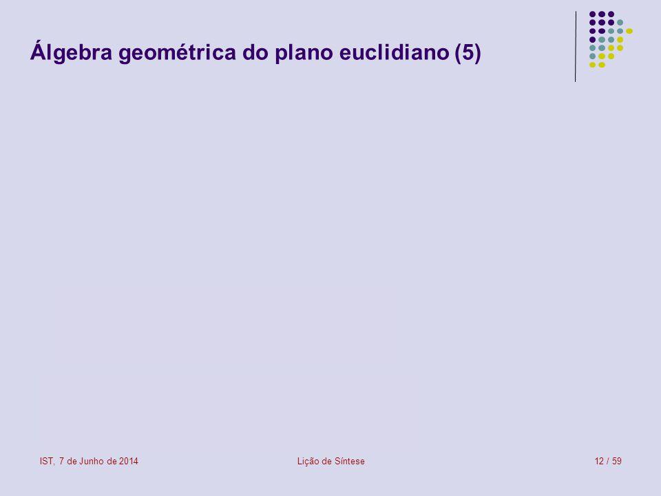 IST, 7 de Junho de 2014Lição de Síntese13 / 59 Álgebra geométrica do plano euclidiano (6)