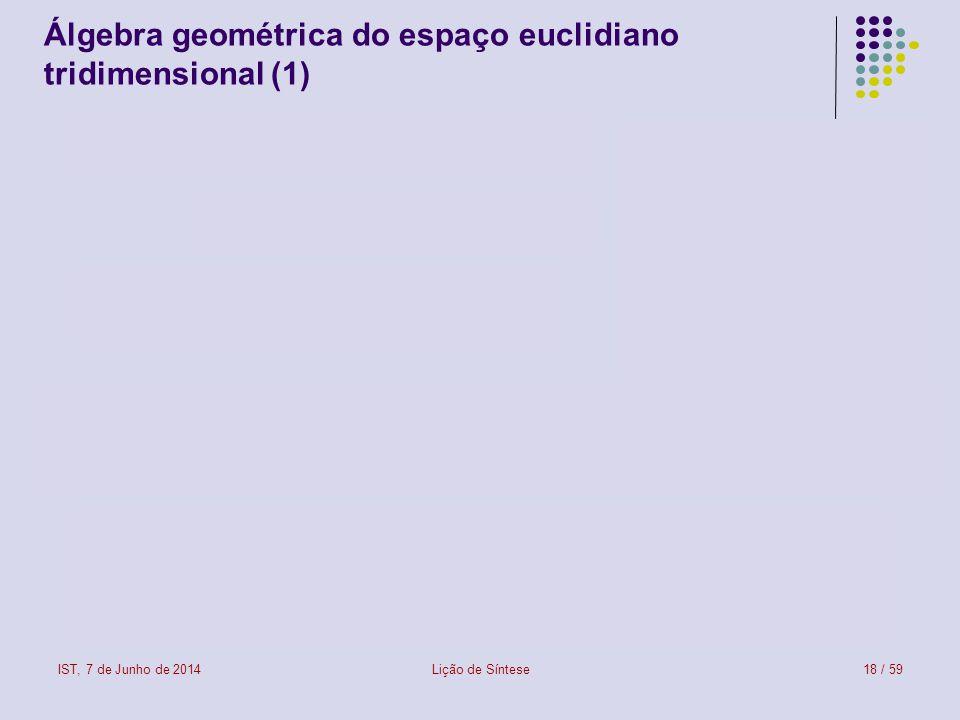 IST, 7 de Junho de 2014Lição de Síntese18 / 59 Álgebra geométrica do espaço euclidiano tridimensional (1)