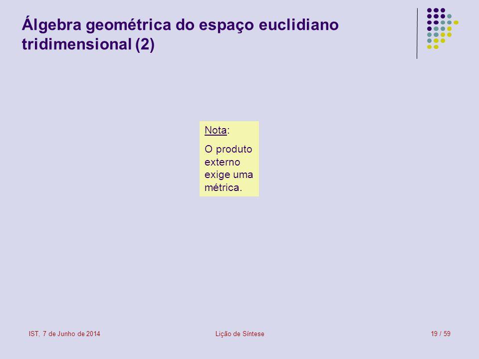IST, 7 de Junho de 2014Lição de Síntese19 / 59 Álgebra geométrica do espaço euclidiano tridimensional (2) Nota: O produto externo exige uma métrica.