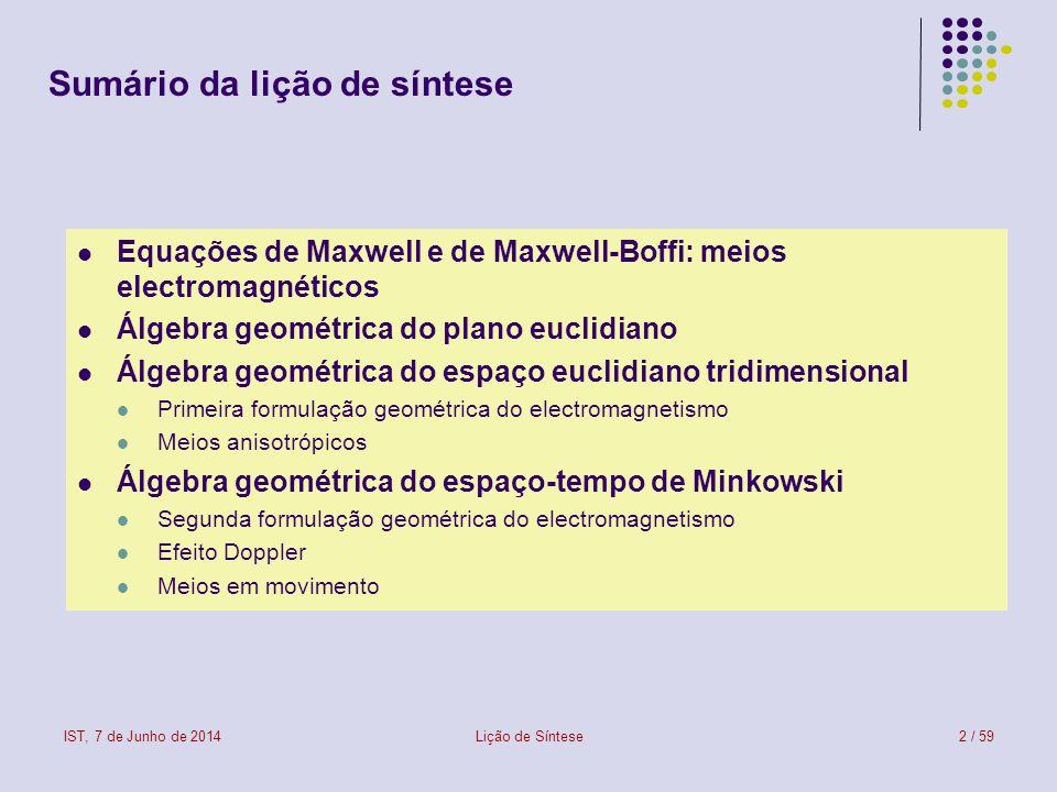 IST, 7 de Junho de 2014Lição de Síntese2 / 59 Sumário da lição de síntese Equações de Maxwell e de Maxwell-Boffi: meios electromagnéticos Álgebra geom
