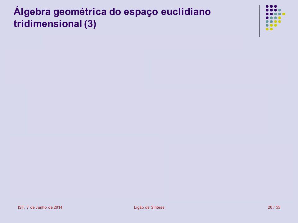 IST, 7 de Junho de 2014Lição de Síntese21 / 59 Álgebra geométrica do espaço euclidiano tridimensional (4)