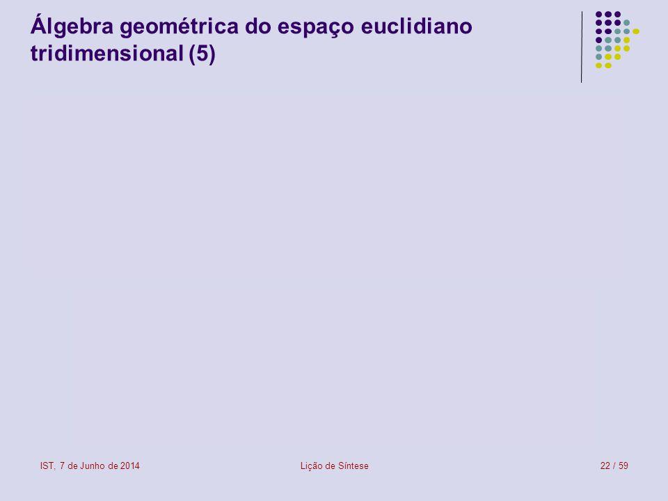 IST, 7 de Junho de 2014Lição de Síntese23 / 59 Álgebra geométrica do espaço euclidiano tridimensional (6)