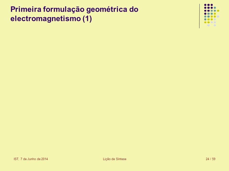 IST, 7 de Junho de 2014Lição de Síntese25 / 59 Primeira formulação geométrica do electromagnetismo (2) Nota: Doravante, para simplificar a escrita das equações, omite-se o índice «0».