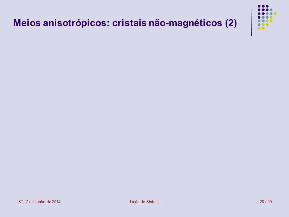IST, 7 de Junho de 2014Lição de Síntese28 / 59 Meios anisotrópicos: cristais não-magnéticos (2) meio anisotrópico: