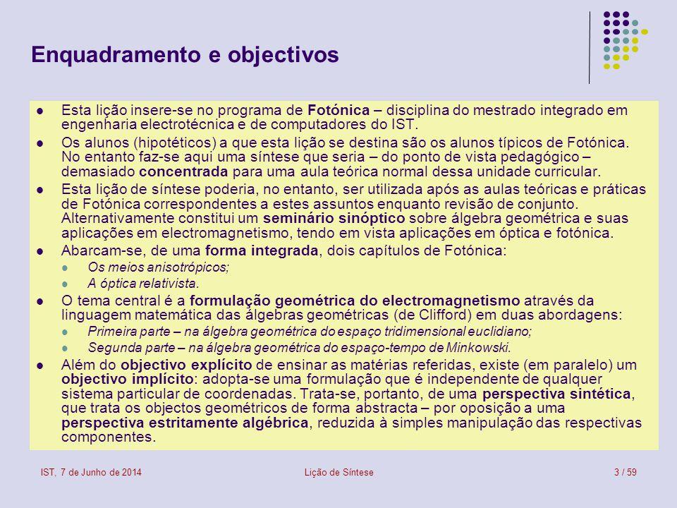 IST, 7 de Junho de 2014Lição de Síntese3 / 59 Enquadramento e objectivos Esta lição insere-se no programa de Fotónica – disciplina do mestrado integra